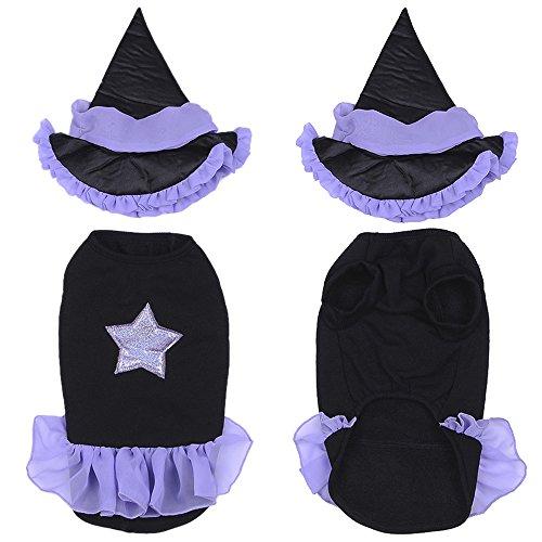 (yunt Funny Puppy Hund Katzen Halloween Kleidung Hexe Kleid Kostüme Weihnachten Geschenk mit Hexe Hat)