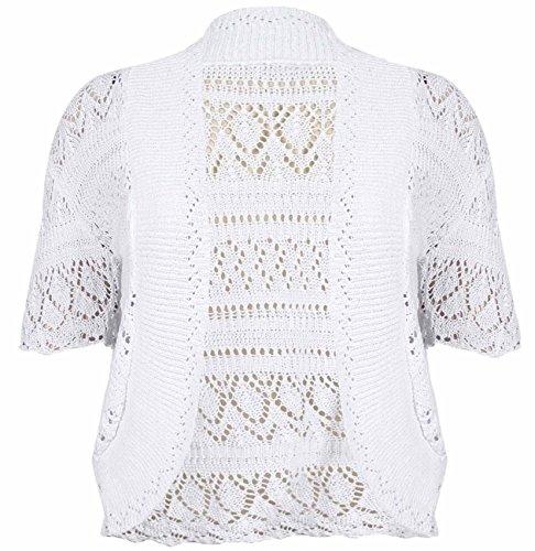 Damen, vorne offen, Häkel Damen Kurzarm Bolero kurze Strickjacke Bolero gestrickt, Übergröße - Weiß, 42 (Wrap Top Sweater Knit)