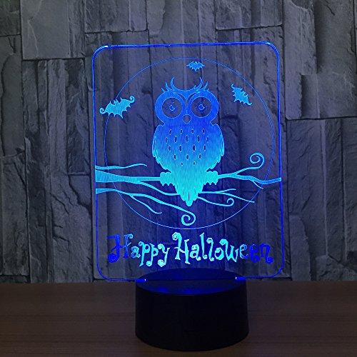 Happy Halloween Owl 3D Led Lampe 7 Farben Visuelle Led Nachtlichter Für Kinder Touch Usb Tischlampe Baby Schlafen Nachtlicht 3D Nachtlicht