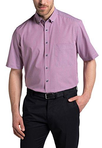 eterna Kurzarm Hemd COMFORT FIT Popeline kariert (Herren-rosa Karierte Hemd)