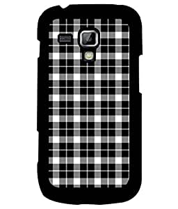 Samsung Galaxy S Duos S7562, Fuson Premium Black n White Cheques Designer Metal Printed with Hard Plastic Back Case Cover