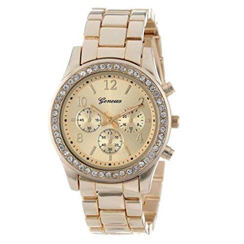 Uhren für Frauen, Winkey Frauen Faux Chronograph Quartz Classic Damen Kristall Armbanduhr gold