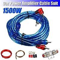 NO LOGO FJY-Spring Altavoces 1500W Auto Audio Cables de la instalación de cableado Kits de Cables del Amplificador subwoofer Kit 8GA Cable de alimentación de 60 amperios portafusibles