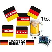 15 X cerveza Tapa Posavasos Tapa de Cartón 9,3 XM X 9,3 CM Alemania colores negro rojo amarillo en distintos motivos como decoración mesa decoración para ...