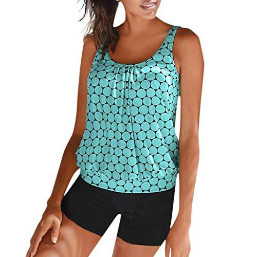 2019 Neu Damen plus Größen Punkt Druck Tankini,Frauen Sommer beiläufiger Strand Badeanzug Beachwear aufgefüllter Badebekleidungs Bikini Satz -