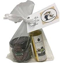 Regalo de botella de Aceite de Oliva miniatura de La Chinata con tarrito de mermelada de