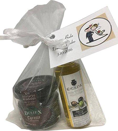 Regalo de botella de Aceite de Oliva miniatura de La Chinata con tarrito de mermelada de cerezas sin gluten para eventos (Pack 24 ud)