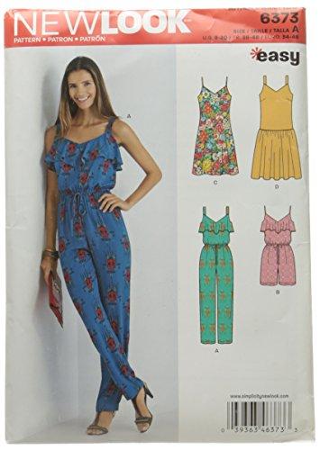 New Look 6373Größe eine Misses 'Jumpsuit oder Strampler und Kleider Schnittmuster, Mehrfarbig