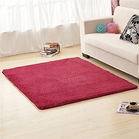 qwer Minimalistisch modern Teppich Farbe dick Wohnzimmer/Schlafzimmer Bett Tisch decken rechteckigen Bereich floating Teppich, 160 x 250 cm, rot Wein
