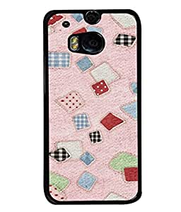 FUSON Designer Back Case Cover for HTC One M8 :: HTC M8 :: HTC One M8 Eye :: HTC One M8 Dual Sim :: HTC One M8s (Baby Pink Lot Colours Squares Patch Tiles )