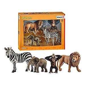 Schleich Wild Life - Safari, Incluye Cebra, Cría de Elefante, Cría de Chimpancé y León