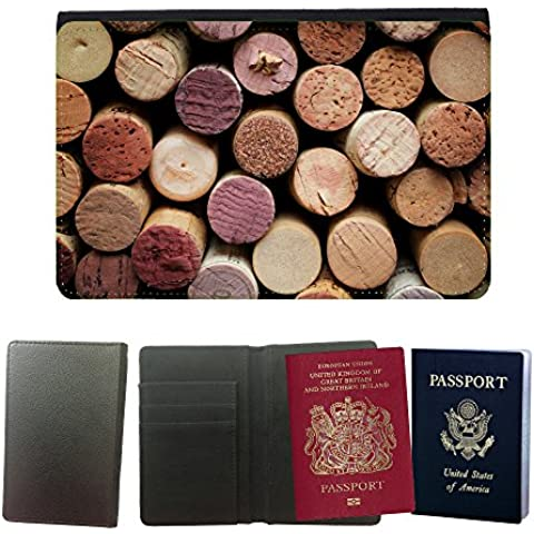 Passeport Voyage Couverture Protector // V00001995 corcho del vino // Universal passport leather cover