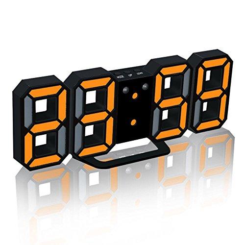 DOGZI Wecker Digital LED Wanduhr 3D, Uhren & Wecker Batteriebetrieben, Moderne Digital LED Tisch Schreibtisch Nacht Wanduhr Wecker 24 oder 12 Stunden Anzeige
