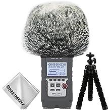 First2savvv negro Micrófono Externo Peludo Parabrisas Manguito Para Grabadores digitales para Zoom H4n Pro . H4n pro+ con Paño de limpieza + Mini trípode TM-DM-H4NPro-A01TZ3