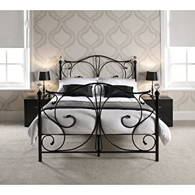FLORENCE DOUBLE BLACK METAL BED FRAME WITH CRYSTAL FINIALS by Double Beds - inexpensive UK light store.