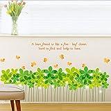 Xqi wangpu Frühling Bunte Blume Gras Schmetterling Klee Sockelleiste Flora Abziehbild Wandaufkleber Möbel Küche Hochzeit Wandbild 95X52 cm