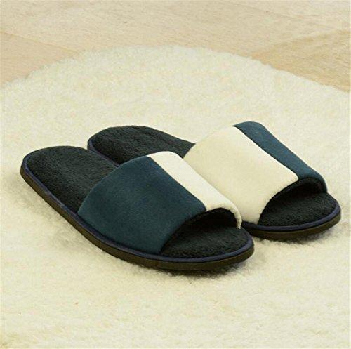 Pantofole aperte pantofole antiscivolo pantofole in velluto corallo hotel a cinque stelle hotel cotone non disponile ospitalità domestica ispessimento primavera e estate 3 pz , blue Blue