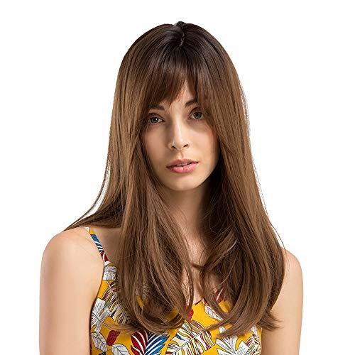 18''Schwarz zu Braun Lange Synthetische Perücken, Luckyfine Lockige Cosplay Perücken Für Frauen, Lange Wellenförmige Hitze Sichere Synthetische Braune Haar Perücke