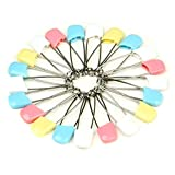#9: LQZ 20Pcs/Set Child Infant Kids Cloth Diaper Pins Stainless Steel Traditional Safety Pin Safe Hold Clip Locking Cloth