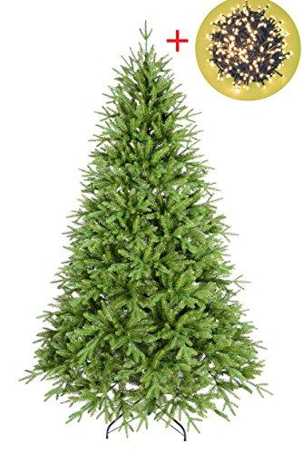 Kit magico natale: albero new chamonix 180 + 450 led bianco caldo