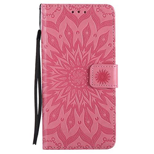 Uposao Handyhülle für Huawei P9 Leder Tasche Schutzhülle Brieftasche Handytasche Retro Vintage Henna Mandala Blumen Ledertasche Lederhülle Klapphülle Case Flip Cover,Rosa