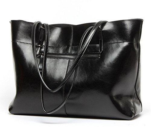 Xinmaoyuan Borse donna vera pelle Borsa a Tracolla portafogli Shopping Bag borsetta semplice Borsa da donna,vino rosso Nero