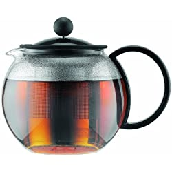 Bodum Assam - Tetera con émbolo, 0,5 l, filtro de acero y asa de plástico, color negro