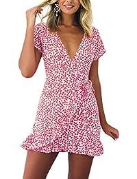 3aa0c644f0 iBaste Mini Estampa Vestido Cola de Pez Mujer Sexy Estilo Francés Cuello-V  Lace-up Vestidos Irregular de Vacaciones en la Playa…
