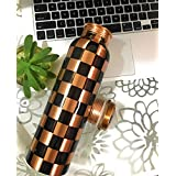 ThEssential Copper Water Bottle, Copper Bottle 1000ml, Copper Bottle For Office, For Home, For Kids, Kids For School, Copper Water Bottle Pure, 1ltr, Printed Copper Bottles, Outer Part Does Not Oxidise As It Has Handmade Print. (Multi) (Multi)