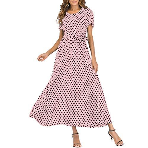 kolila Damen Maxi Kleid Schulterfrei Sling Ärmellos Polka Dot Swing Langes Kleid Lässig Strandurlaub Kleid Sommerkleid -