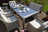 Bomey Rattan Lounge Set I Gartenmöbel Set Paris 6-Teilig I Essgarnitur mit Polstern I Sitzgruppe Grau + Tisch + Polster Beige I Dining Lounge für Terrasse + Wintergarten