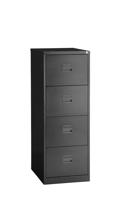 Perfect Trexus Steel CC4H1A Av1 Filing Cabinet 4 Drawer Foolscap H1321xW470xD622mm    Black: Amazon.co.uk: Kitchen U0026 Home