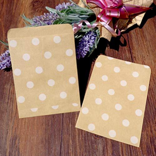 GXY FLZ Dots Stripe Brown Kraftpapiersäcke Aufgereiht Food Craft Candy Snack Bitty Säcke Geschenkpapier Party Favor Bags, Dots