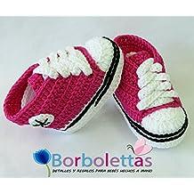 Zapatillas Deportivas para Bebé Estilo Converse, Fucsia y Negro, 0-3 meses