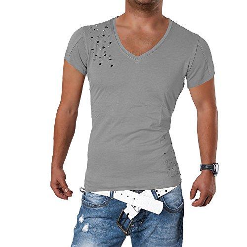 M421 STEGOL Herren Shirt Poloshirt T-Shirt Kurzarm V-Neck Clubwear V-Ausschnitt Grau