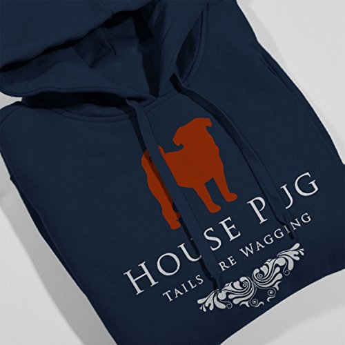 House Pug Tails Are Wagging Game Of Bones Women's Hooded Sweatshirt Navy blue
