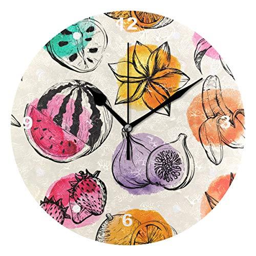 SUNOP Uhr für Kinder, mit Öl Bedruckt, 1 Tropische Blumen und Obst, Wanduhren für Wohnzimmer, Schlafzimmer und Küche, Vintage-Stil (Obst-öl)