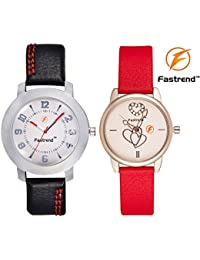 Fastrend Quartz Watch Combo For Men And Women - Durable Analog Watches - Couple Watches - 1 Black And 1 Red -...