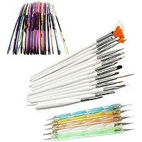 Vococal® 15 pz Nail Art Pennelli Smalto per Unghie Spazzola di pittura + 5 pz Marbleizing che punteggiano penna + 32 rotoli Nail Chiodo Adesivo del Nastro della