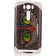 Qiaogle Teléfono Caso - Funda de TPU silicona Carcasa Case Cover para Asus ZenFone 2 Laser ZE500KL (5.0 Pulgadas) - YH20 / Azul ojo del búho