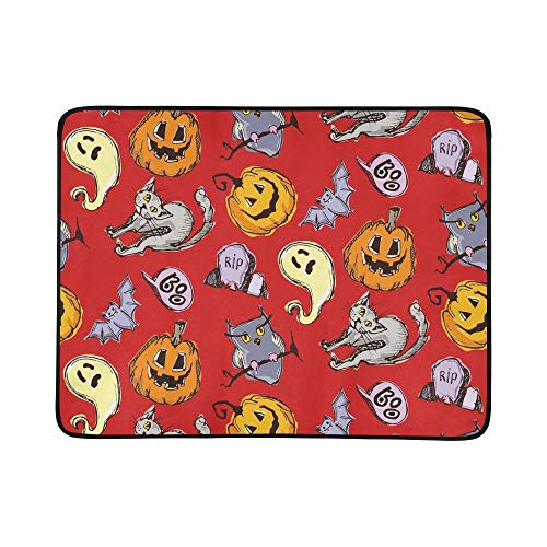 EIJODNL Halloween Endless Texture Can Portable and Foldable Blanket Mat 60x78 Inch Handy Mat for Camping Picnic Beach Indoor Outdoor Travel (Cat Clip Art Halloween Black)
