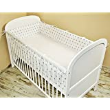 Cuna Nest–Protector de cabeza cuna 420x 30cm, 360x 30cm, 180x 30cm Cama Cuna Baby Protector de bordes cama Equipamiento estrellas blanco (A3)