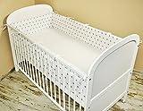 Amilian® Bettumrandung Nest Kopfschutz Nestchen 420x30cm, 360x30cm, 180x30 cm Bettnestchen Baby Kantenschutz Bettausstattung Sternchen weiß (A3) (360x30cm)