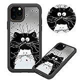 Hülle für iPhone 11 6.1,Weiß Schwarz Katze Muster Weich Silikon TPU + Hart PC Hybrid Double Beidseitiger Stoßfest Handyhülle Kratzfest Rüstung Schutzhülle