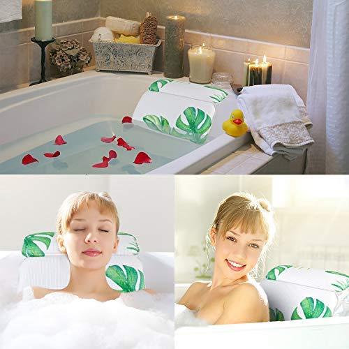 Nackenkissen Badewanne,Kapmore Badewannenkissen mit Saugnäpfen Kissen Badewanne für Spa und Bad(Grün)