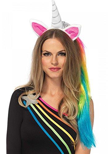 Leg Avenue Einhorn Haarreif mit rosa Öhrchen und Regenbogen-Mähne Unicorn