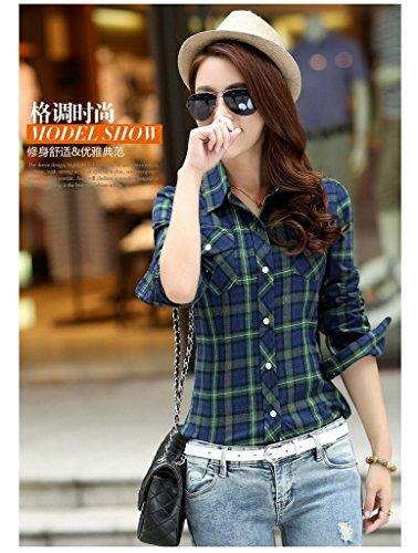 Smile YKK Chemisier Femme Manche Longue Blouse Coton Col Chemise T-shirt à Carreaux Automne Bleu Vert