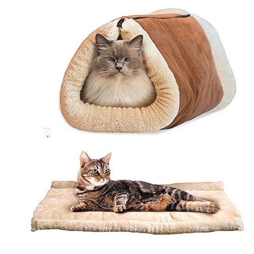 owikar Katze Matte und Bett 2in 1Katze Tunnel Pet bett Fleece Indoor Kissen Baumwolle Pad für kleine Hunde/Welpen Kätzchen Zwinger Käfig Shack mit Sound Papier Katze Favoriten, braun (Honda Schocks)