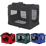 Tekbox Folding Fabric Portable Pet Dog Cat Rabbit Puppy Carrier Bag - Fold up Collapsible Travel Cage Kennel Crate House with Free Fleece Blanket -
