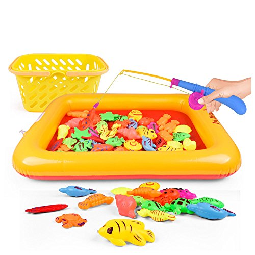 onecreation-child-plastic-magnetic-fishing-toys-50pcs-set-inc-3d-sea-animal-models-fishing-rod-pool-